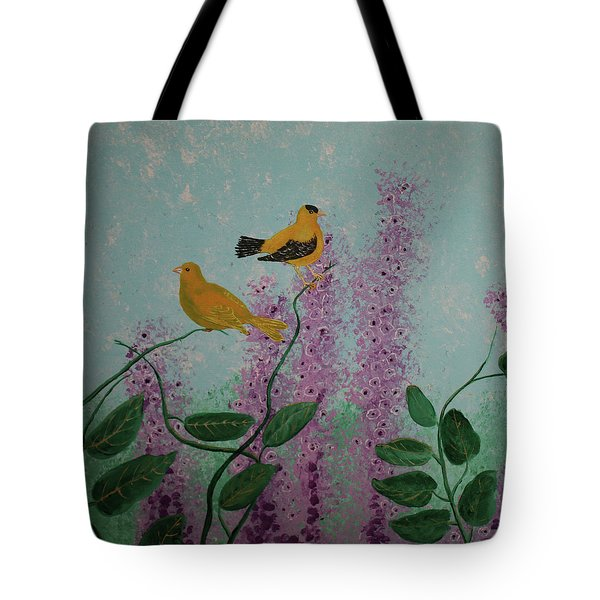 Two Yellow Chickadees Tote Bag