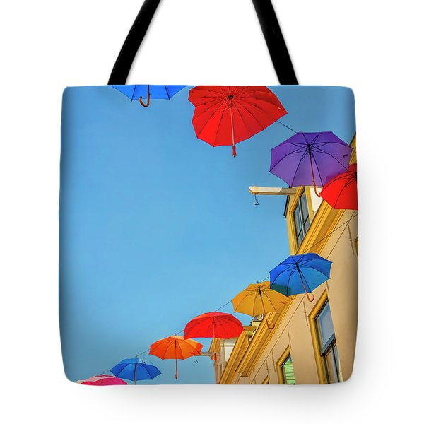 Umbrellas In The Sky Tote Bag