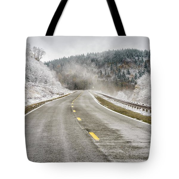 Tote Bag featuring the photograph Unexpected Autumn Snow Highland Scenic Highway by Thomas R Fletcher