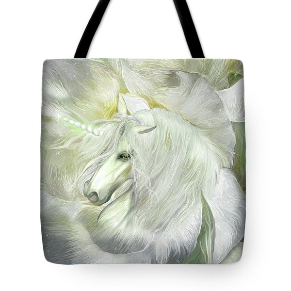 Tote Bag featuring the mixed media Unicorn Rose by Carol Cavalaris