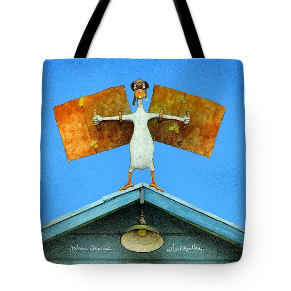 Tote Bag featuring the painting Urban Icarus... by Will Bullas