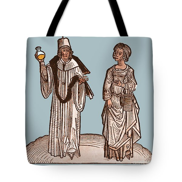 Uroscopy, 15th Century Tote Bag by Science Source