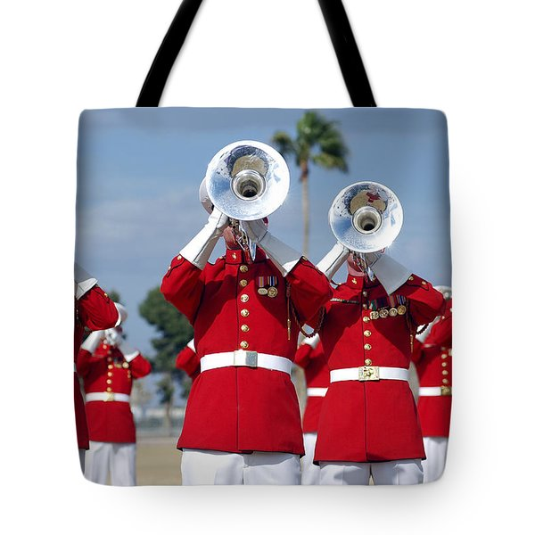 U.s. Marine Corps Drum And Bugle Corps Tote Bag by Stocktrek Images