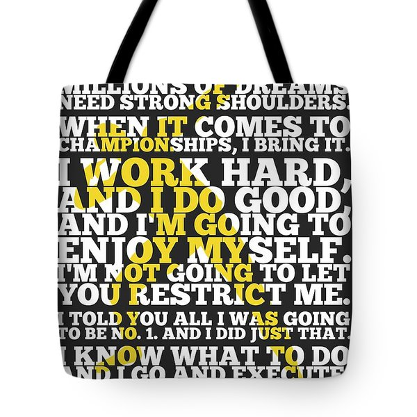 Usain Bolt Sport Inspirational Quotes Poster Tote Bag