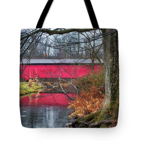 Tote Bag featuring the photograph Utica Covered Bridge by Mark Dodd