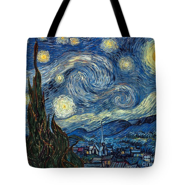 Tote Bag featuring the painting Van Gogh Starry Night by Granger