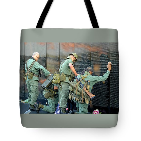 Veterans At Vietnam Wall Tote Bag by Carolyn Marshall