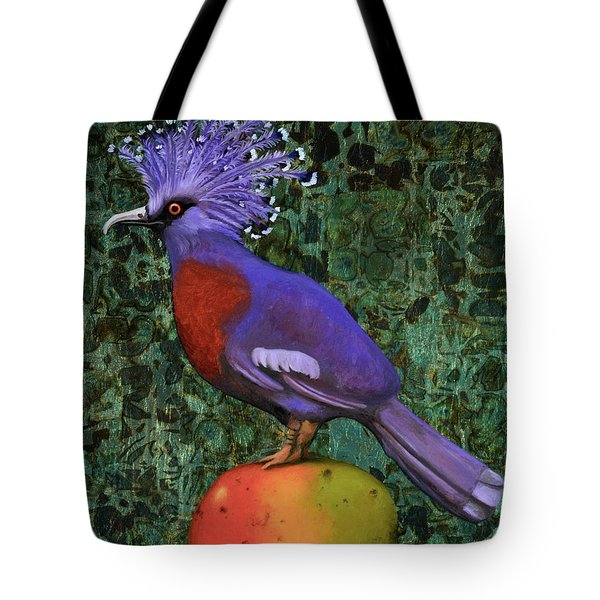 Victoria Crowned Pigeon On A Mango Tote Bag by Leah Saulnier The Painting Maniac
