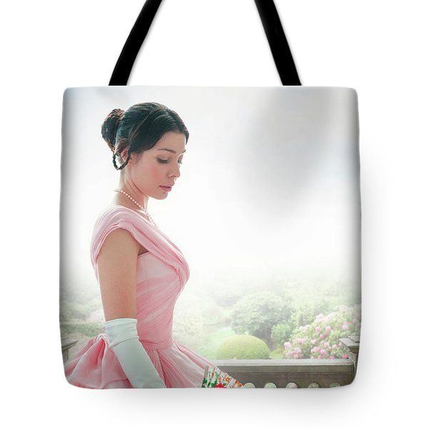 Victorian Woman In A Pink Ball Gown Tote Bag by Lee Avison