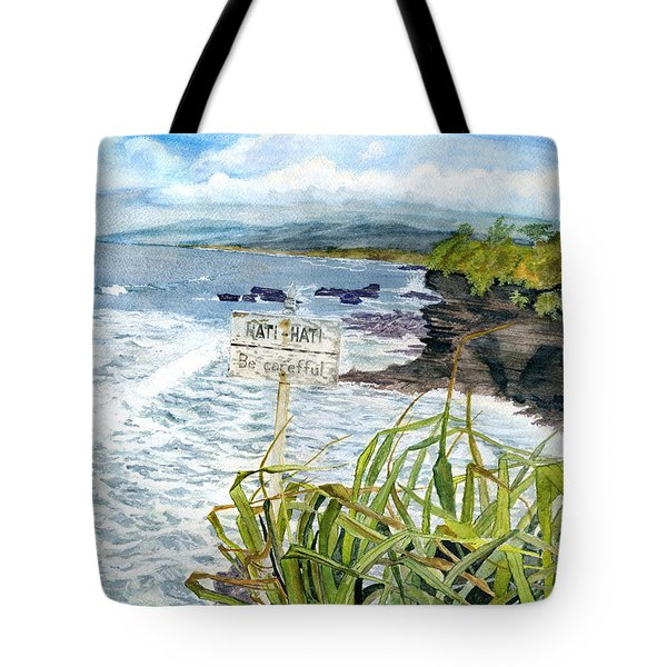 Tote Bag featuring the painting View From Tanah Lot Bali Indonesia by Melly Terpening