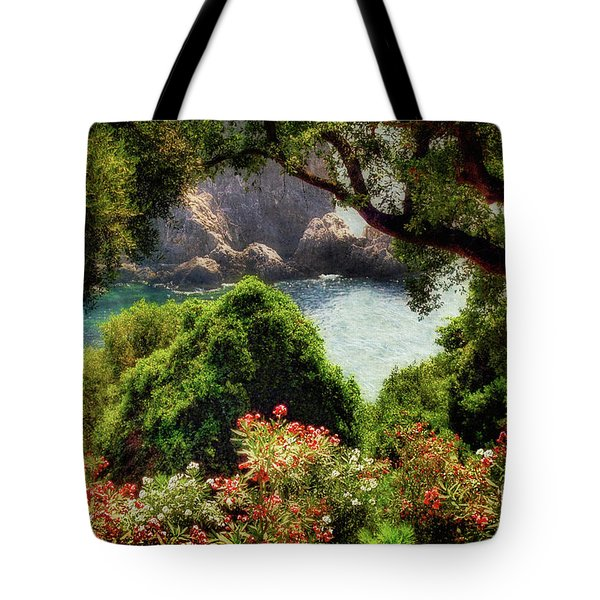 View From The Terrace - Paleokastritsa Tote Bag by Lois Bryan