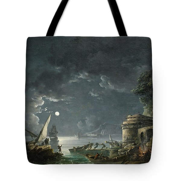 Tote Bag featuring the painting View Of A Moonlit Mediterranean Harbor by Carlo Bonavia