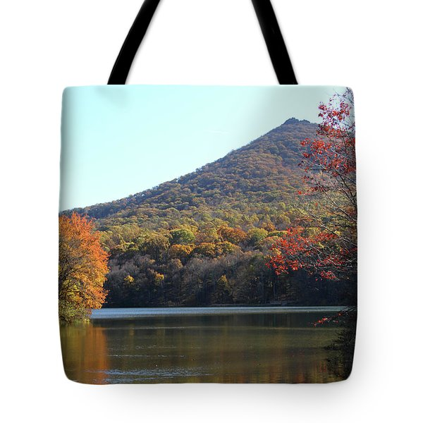 View Of Abbott Lake And Sharp Top In Autumn Tote Bag by Emanuel Tanjala