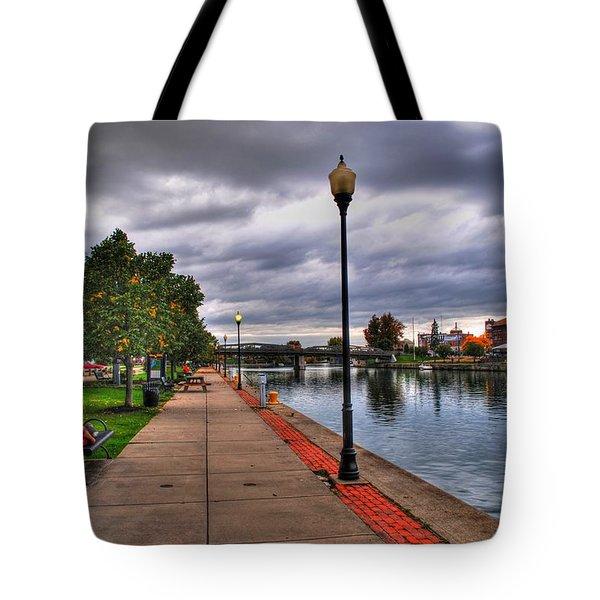 View Of Delaware Bridge At Erie Canal Harbor Tote Bag