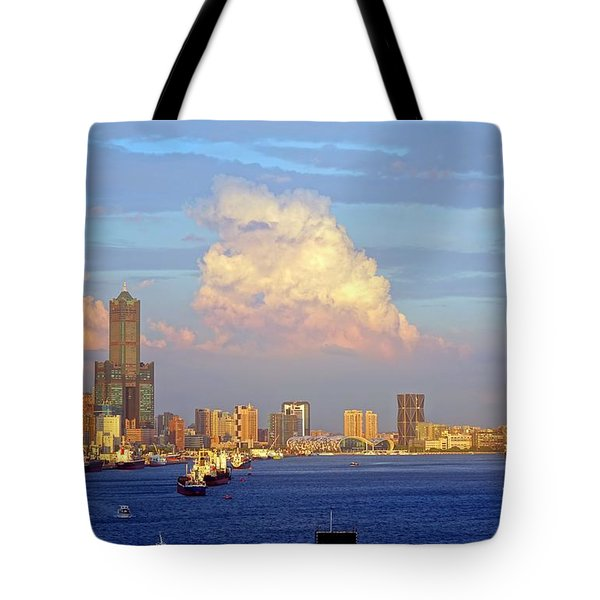 View Of Kaohsiung City At Sunset Time Tote Bag