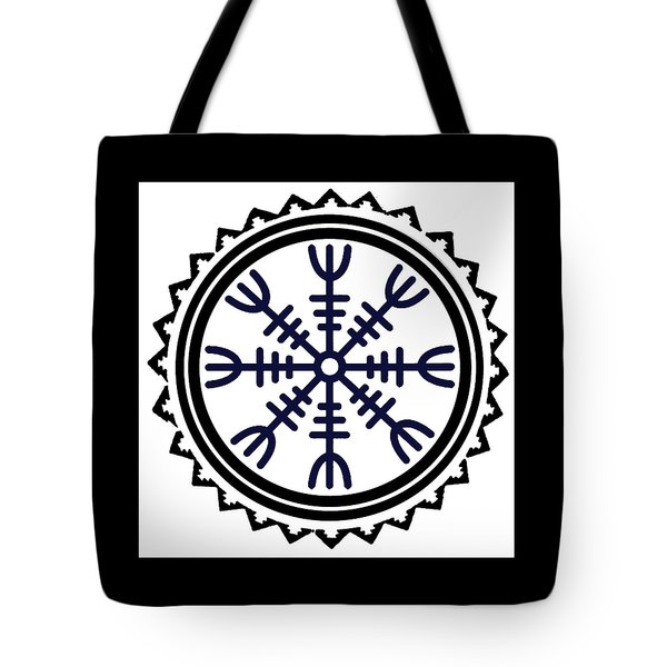 Tote Bag featuring the digital art Viking Helm Of Awe by Vagabond Folk Art - Virginia Vivier
