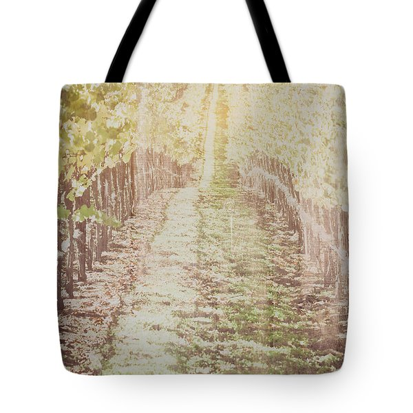 Vineyard In Autumn With Vintage Film Style Filter Tote Bag