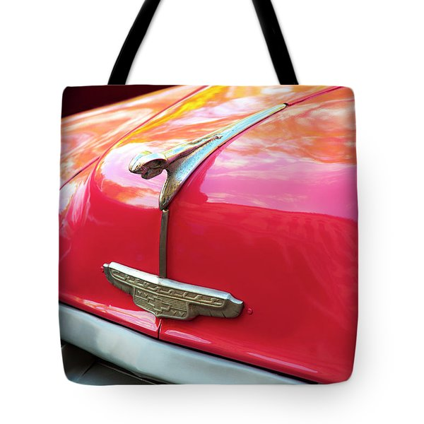 Tote Bag featuring the photograph Vintage Chevy Hood Ornament Havana Cuba by Charles Harden