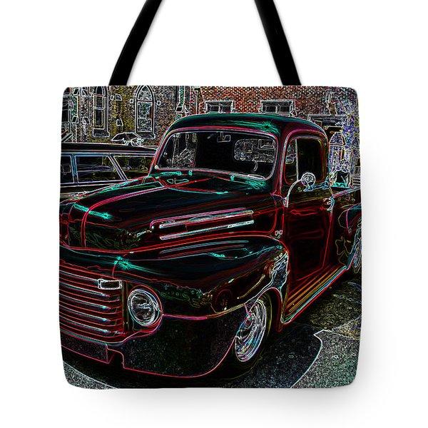 Vintage Chevy Truck Neon Art Tote Bag