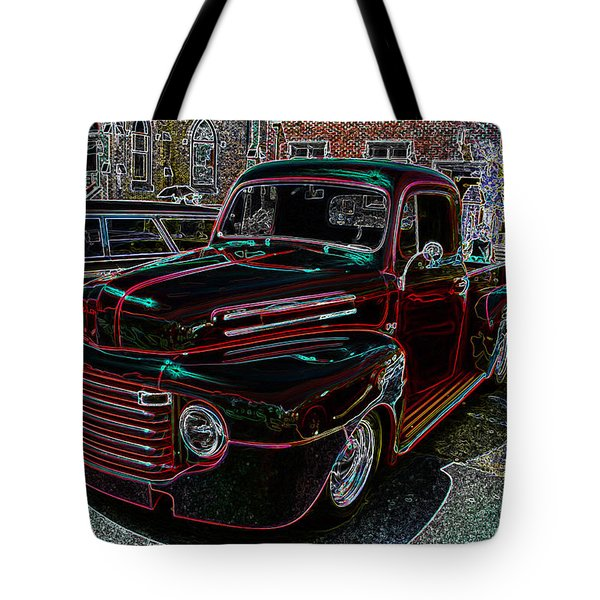 Vintage Chevy Truck Neon Art Tote Bag