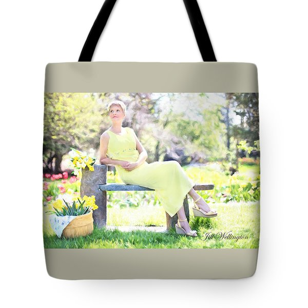 Vintage Val Spring Tulips Tote Bag by Jill Wellington