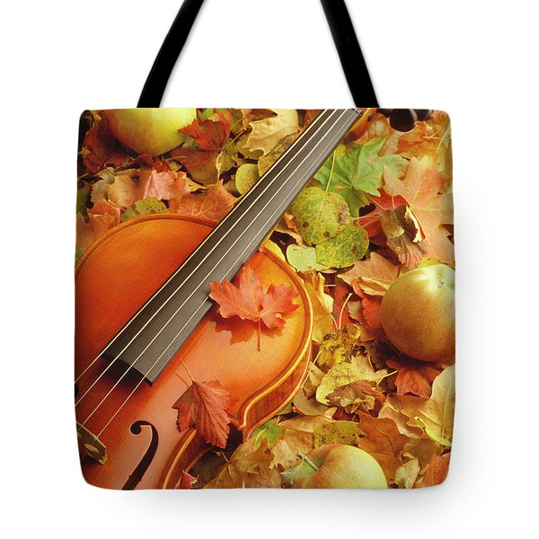 Violin With Fallen Leaves Tote Bag