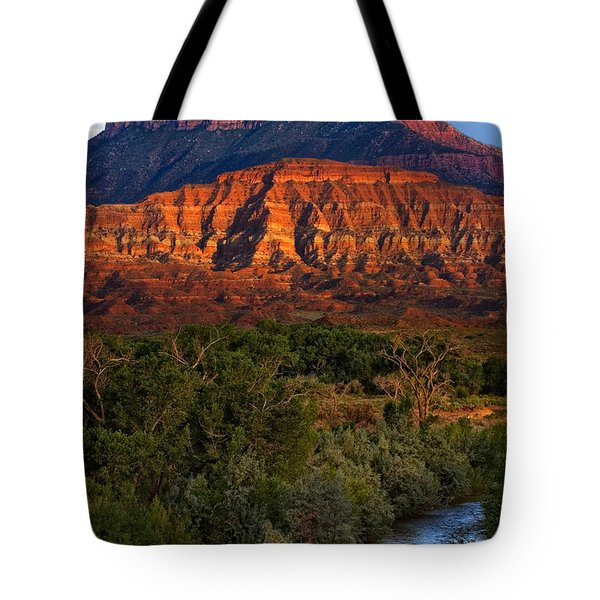 Virgin River Near Zion National Park Tote Bag by Utah Images