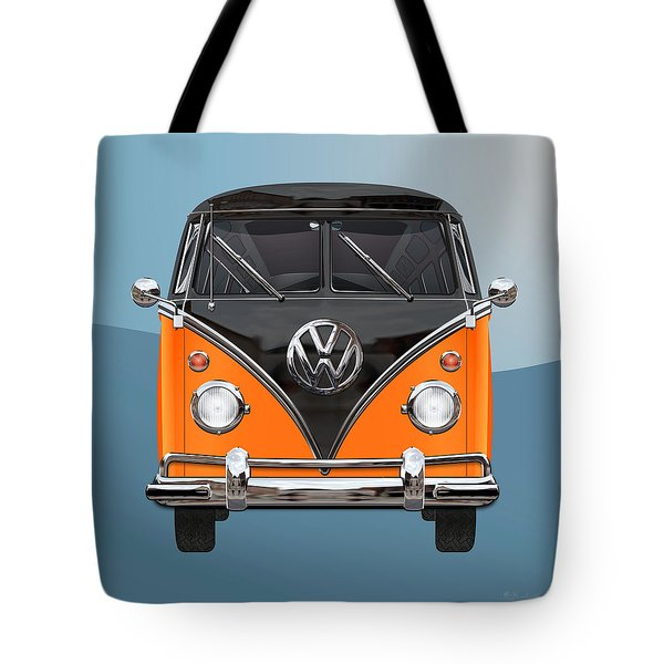 Volkswagen Type 2 - Black And Orange Volkswagen T 1 Samba Bus Over Blue Tote Bag