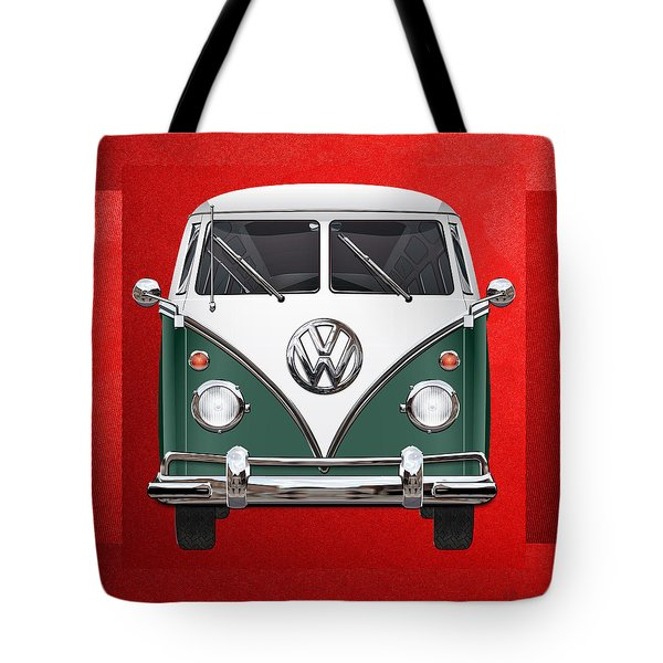 Volkswagen Type 2 - Green And White Volkswagen T 1 Samba Bus Over Red Canvas  Tote Bag