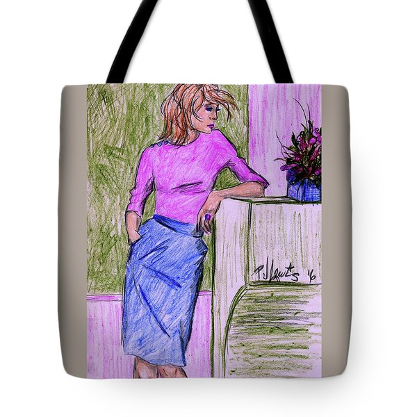Tote Bag featuring the drawing Waiting by P J Lewis