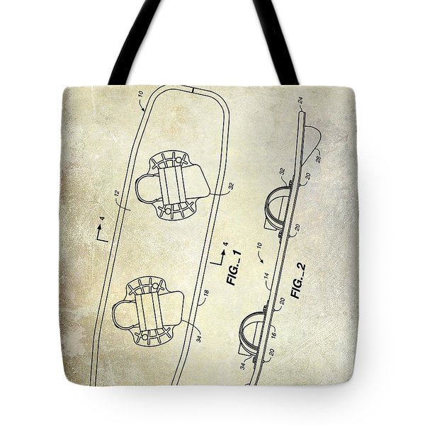 Wakeboard Patent Drawing Tote Bag