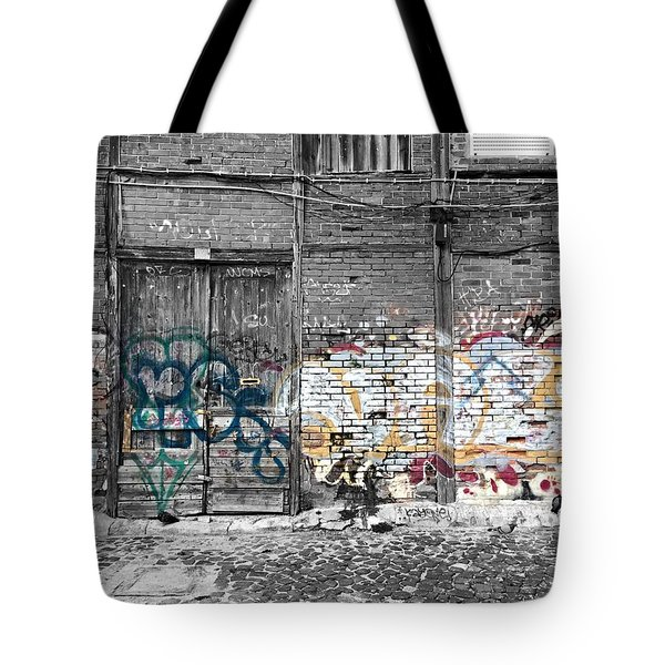 Warehouse In Lisbon Tote Bag by Ehiji Etomi