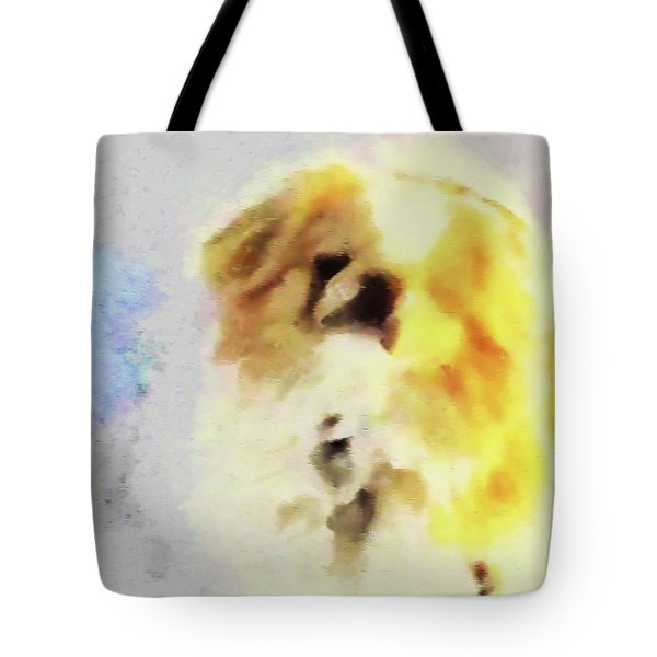 Tote Bag featuring the photograph Wasabi, Dog Painted. by Roger Bester