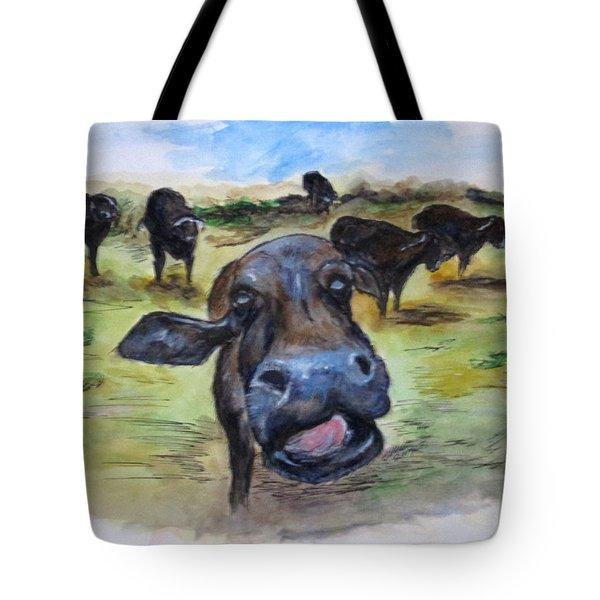 Water Buffalo Kiss Tote Bag
