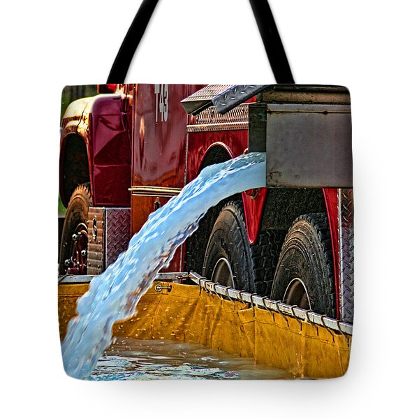 Water Dump Tote Bag by Tommy Anderson