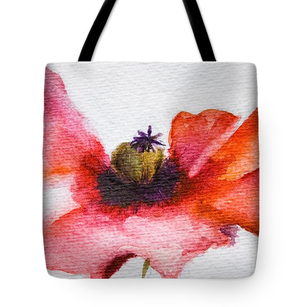 Watercolor Poppy Flower Tote Bag