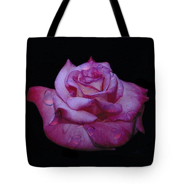 Watered Red Rose Tote Bag