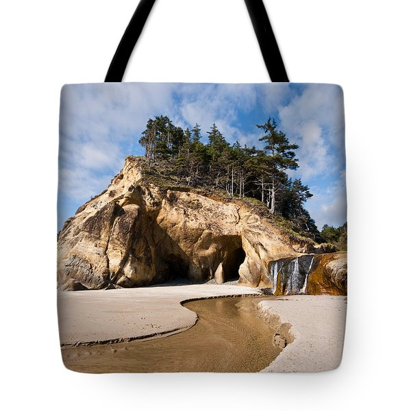 Waterfall Flowing Into The Pacific Ocean Tote Bag