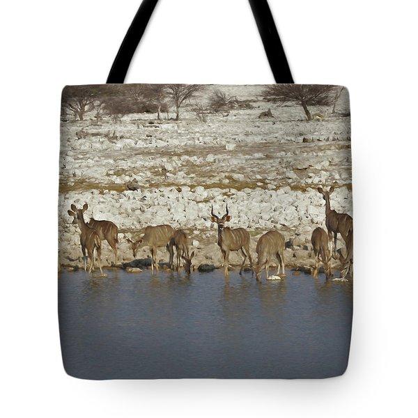 Tote Bag featuring the digital art Waterhole Kudu by Ernie Echols