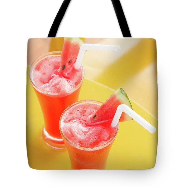 Tote Bag featuring the photograph Waterlemon Smoothie by Atiketta Sangasaeng