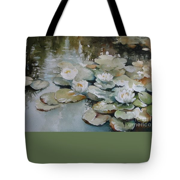 Tote Bag featuring the painting Waterlilies by Elena Oleniuc