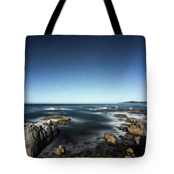 Tote Bag featuring the photograph Wave Blowing By The Stong Wind At Th Pacific Ocean Coast With Ro by Jingjits Photography