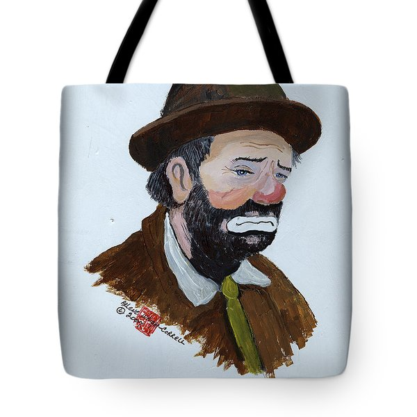 Weary Willie The Clown Tote Bag by Arlene  Wright-Correll