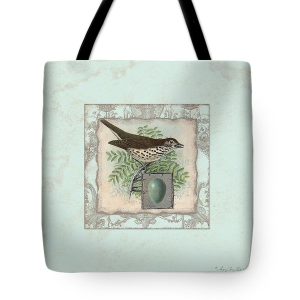 Welcome To Our Nest - Vintage Bird W Egg Tote Bag by Audrey Jeanne Roberts