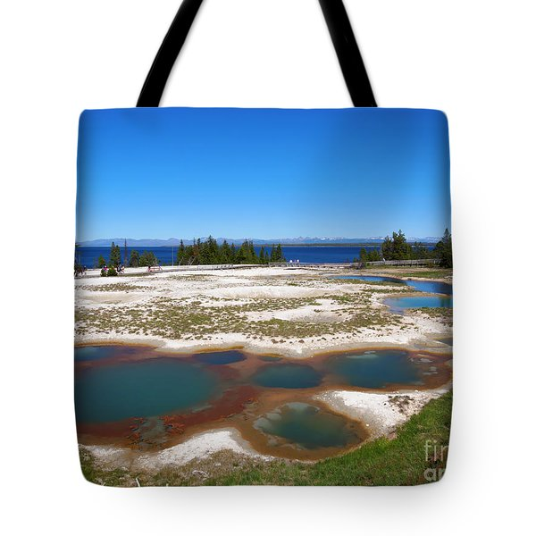 West Thumb Geyser Basin In Yellowstone National Park Tote Bag by Louise Heusinkveld