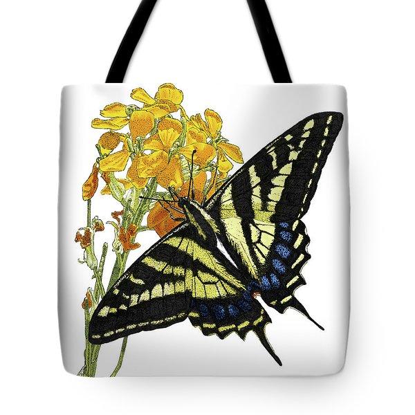 Western Tiger Swallowtail On A Western Wallflower Tote Bag