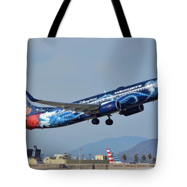 Westjet Boeing 737-8ct C-gwsz Magic Plane Phoenix Sky Harbor January 22 2016 Tote Bag by Brian Lockett