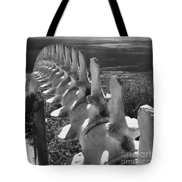Whale Bones In Black And White Tote Bag