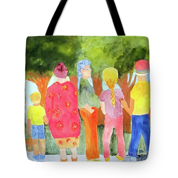 Tote Bag featuring the painting What's To See by Sandy McIntire