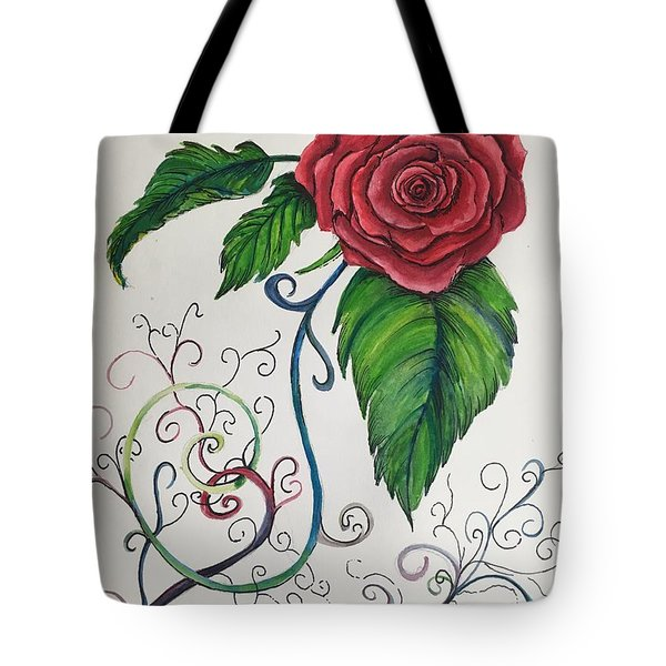 Whimsical Red Rose Tote Bag